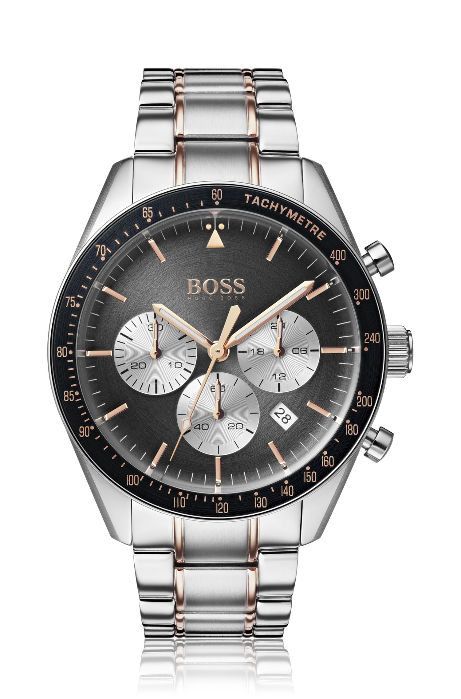 Stainless-steel chronograph watch with rose-gold accents, Silver