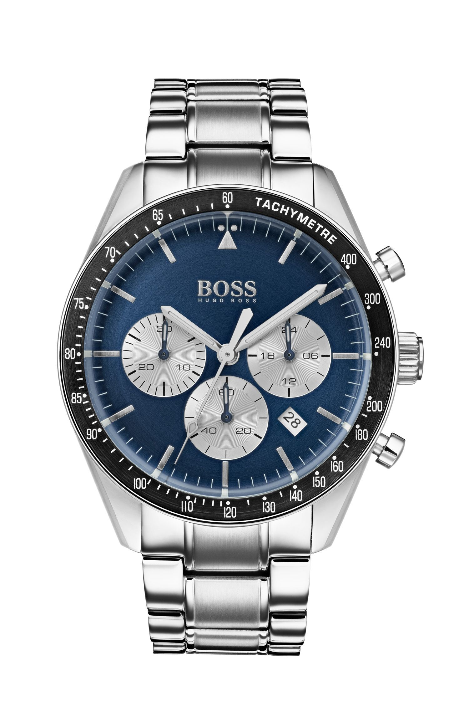Blue-dial chronograph watch with stainless-steel bracelet, Silver
