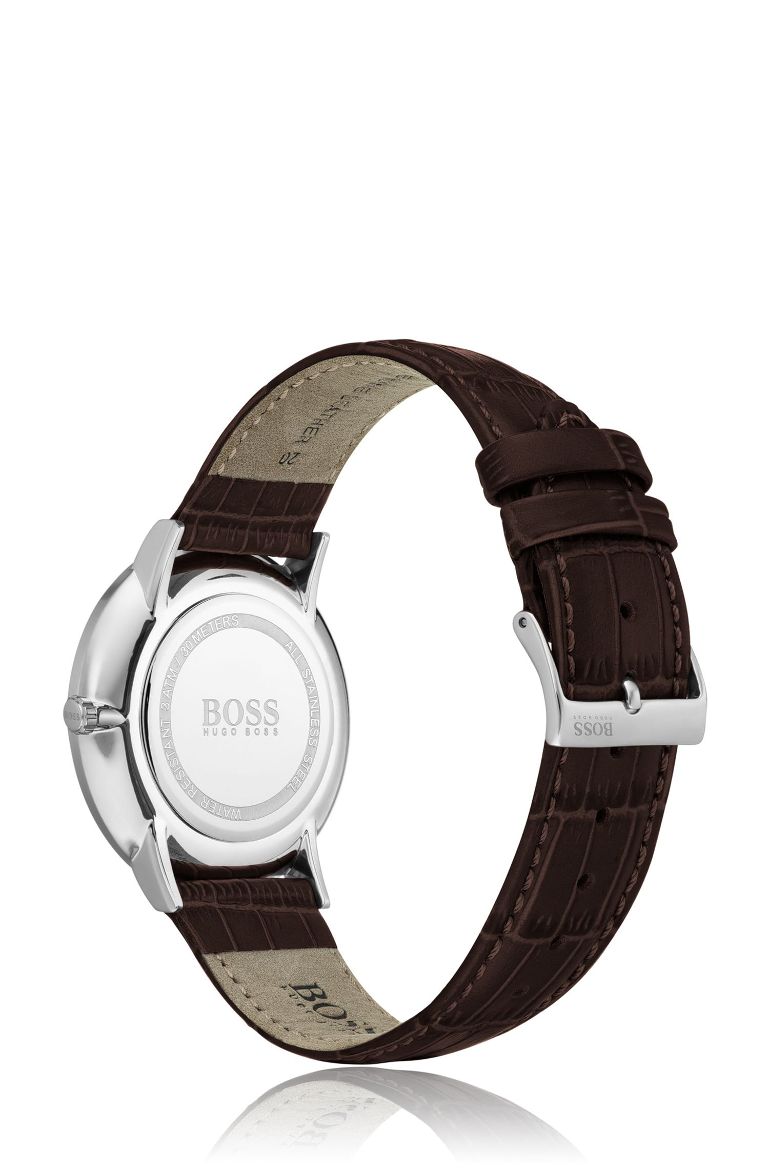 Polished stainless-steel watch with enamel dial and leather strap, Dark Brown