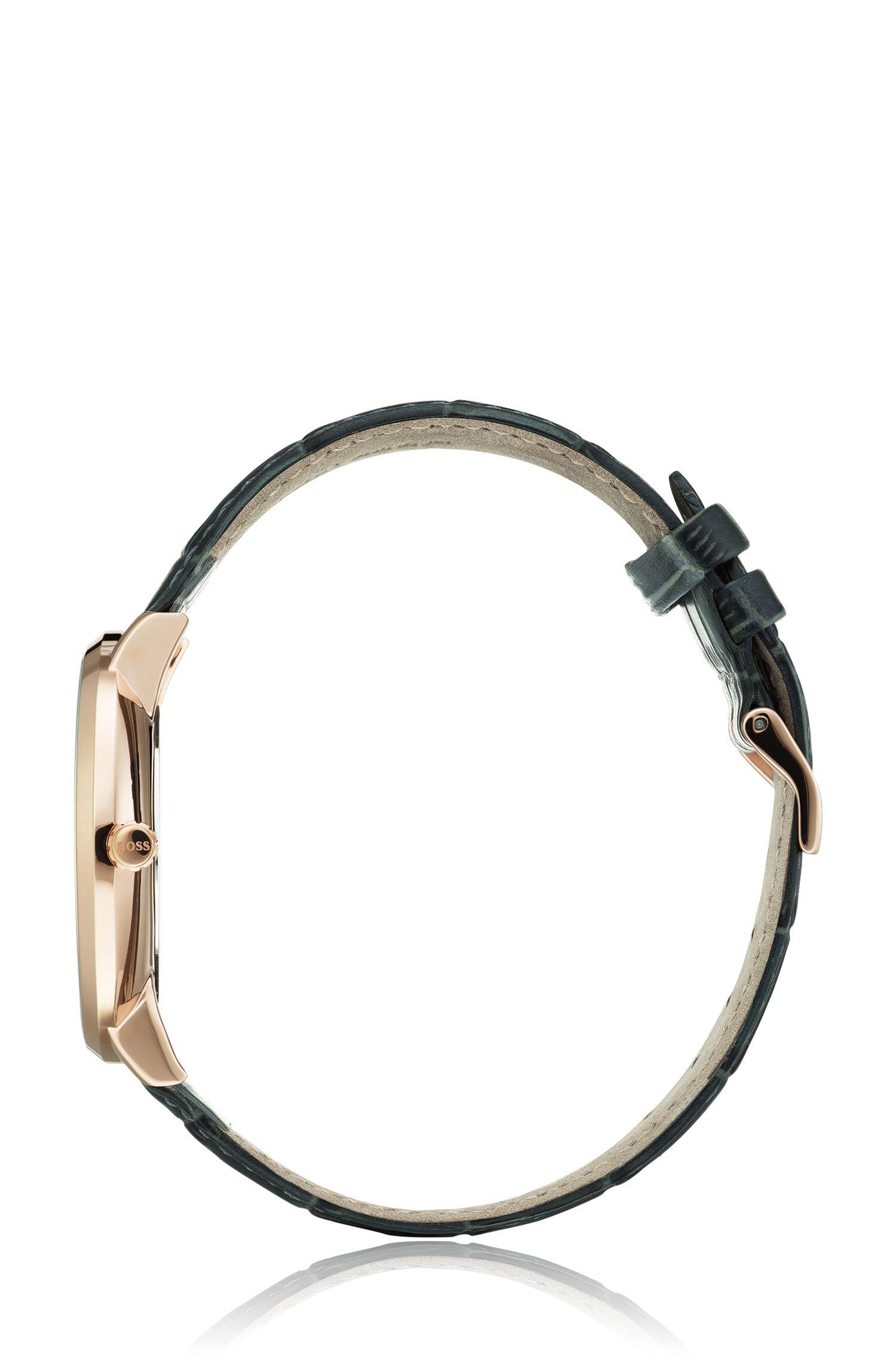 Orologio a tre lancette con cinturino in pelle effetto coccodrillo, Verde scuro