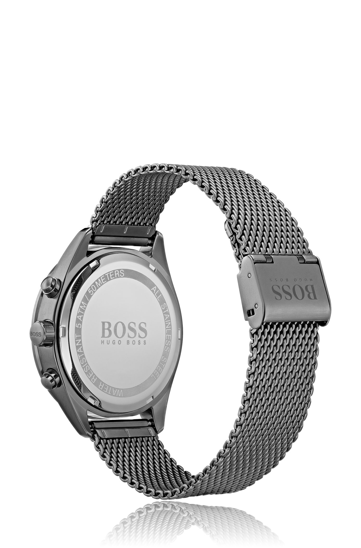 Grey-plated chronograph watch with mesh bracelet, Silver