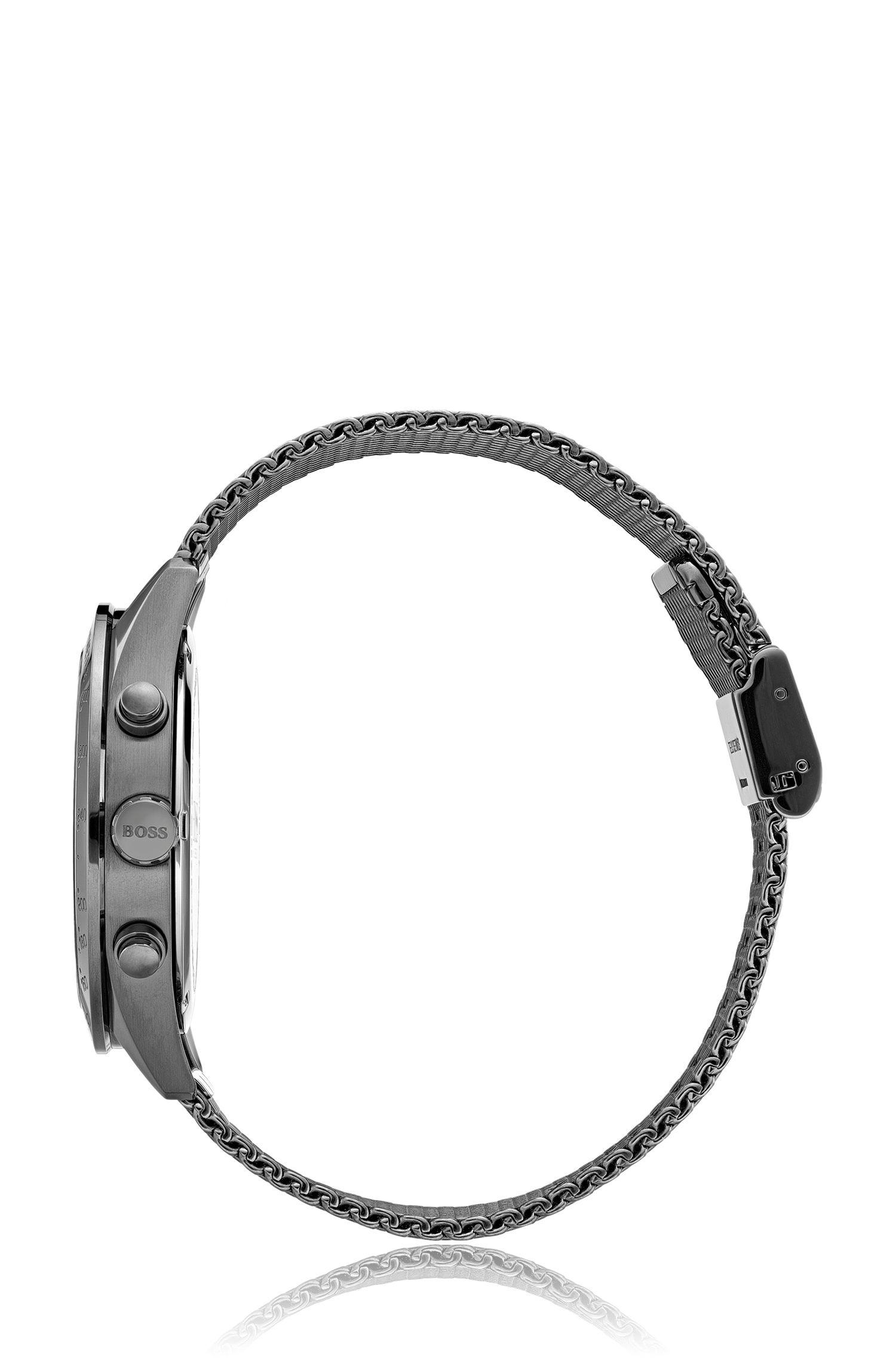 Cronógrafo chapado en gris con pulsera de malla, Plata