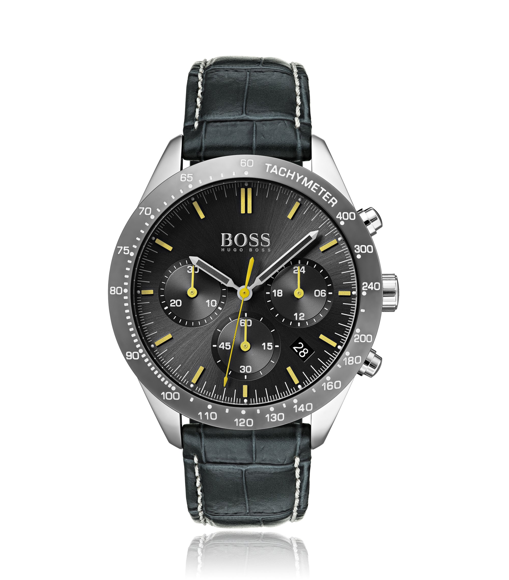Chronograph watch with hand-stitched embossed leather strap, Anthracite