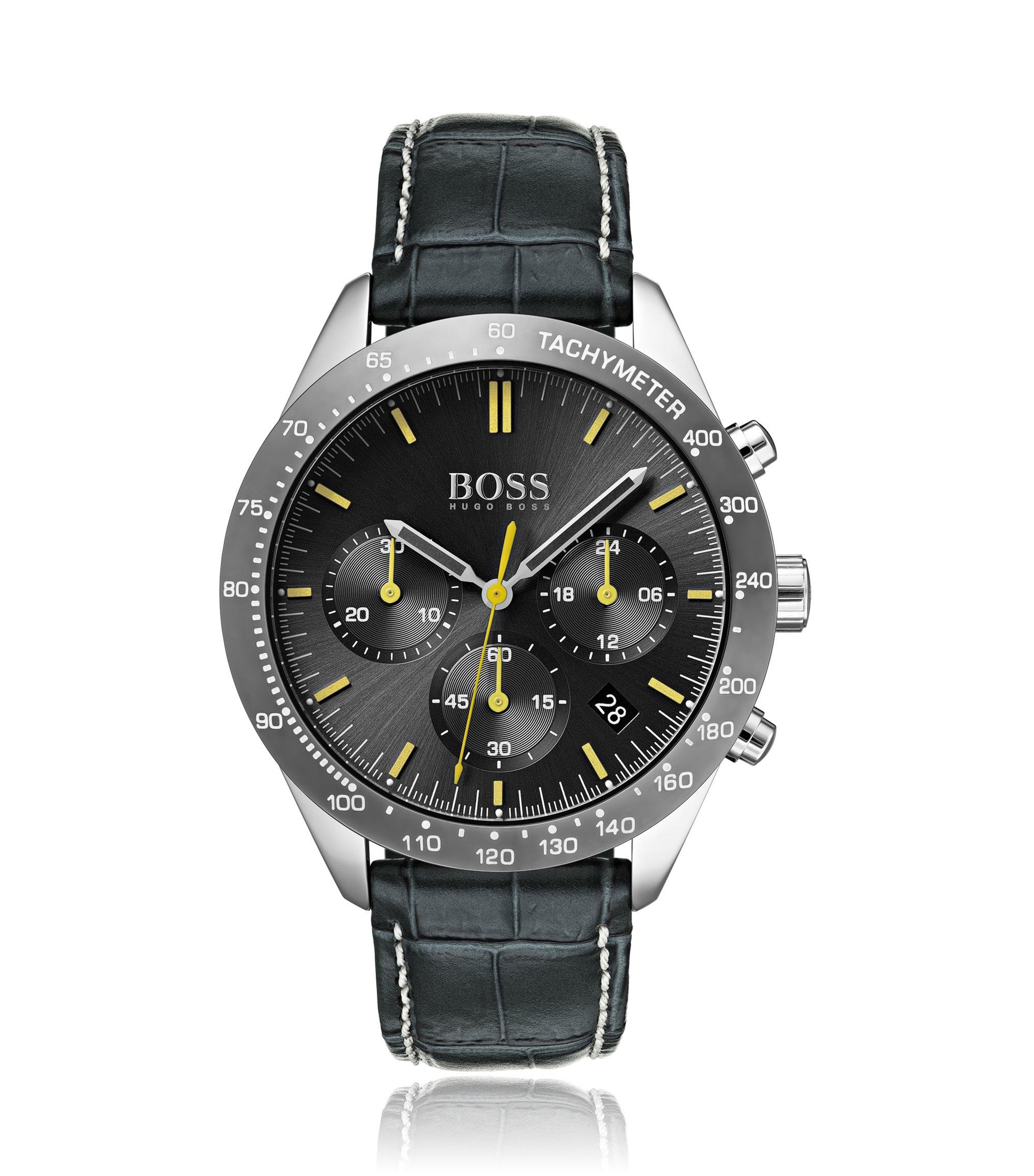 Montre chronographe à bracelet en cuir embossé surpiqué à la main, Anthracite