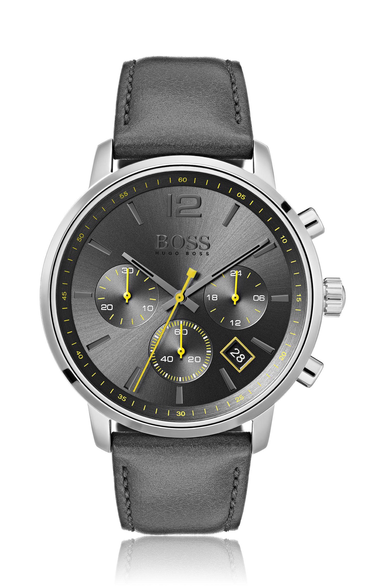 Montre chronographe en acier inoxydable à cadran brossé soleil gris, Anthracite