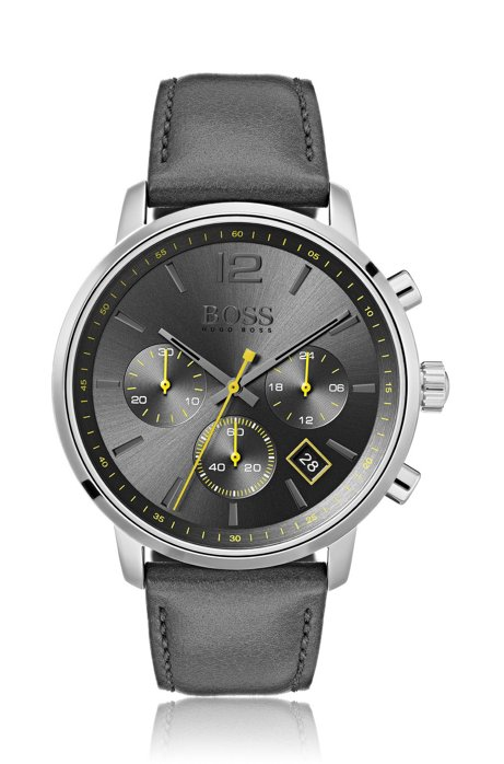 Stainless-steel chronograph watch with grey sunray-brushed dial, Anthracite