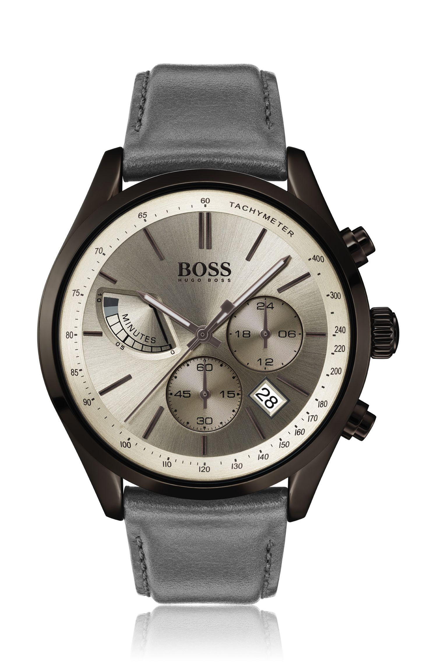 Racing-inspired chronograph watch with carnation-gold dial, Grey