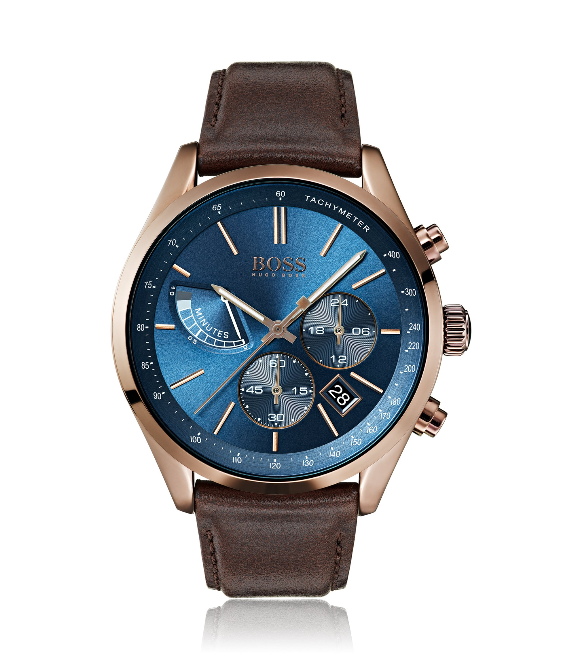 Driver's style chronograph watch with blue sunray-brushed dial, Dark Brown