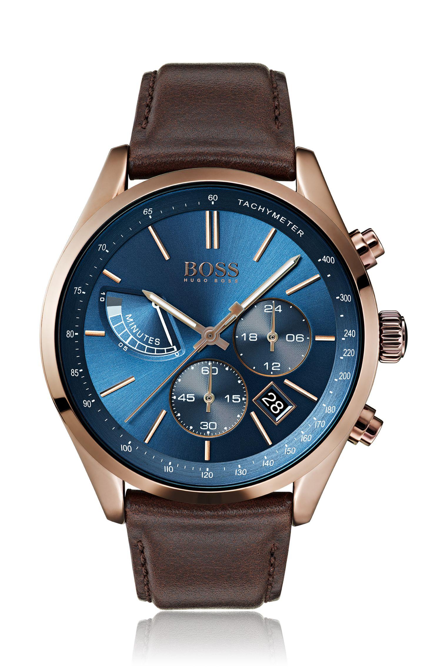 Montre chronographe style pilote de course à cadran bleu brossé et soleillé, Marron foncé
