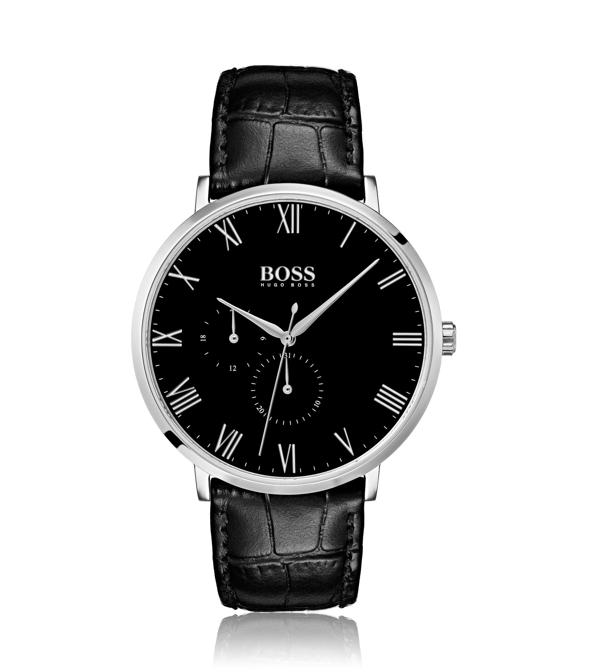 Uhr aus poliertem Edelstahl mit schwarzem Emaille-Zifferblatt, Schwarz
