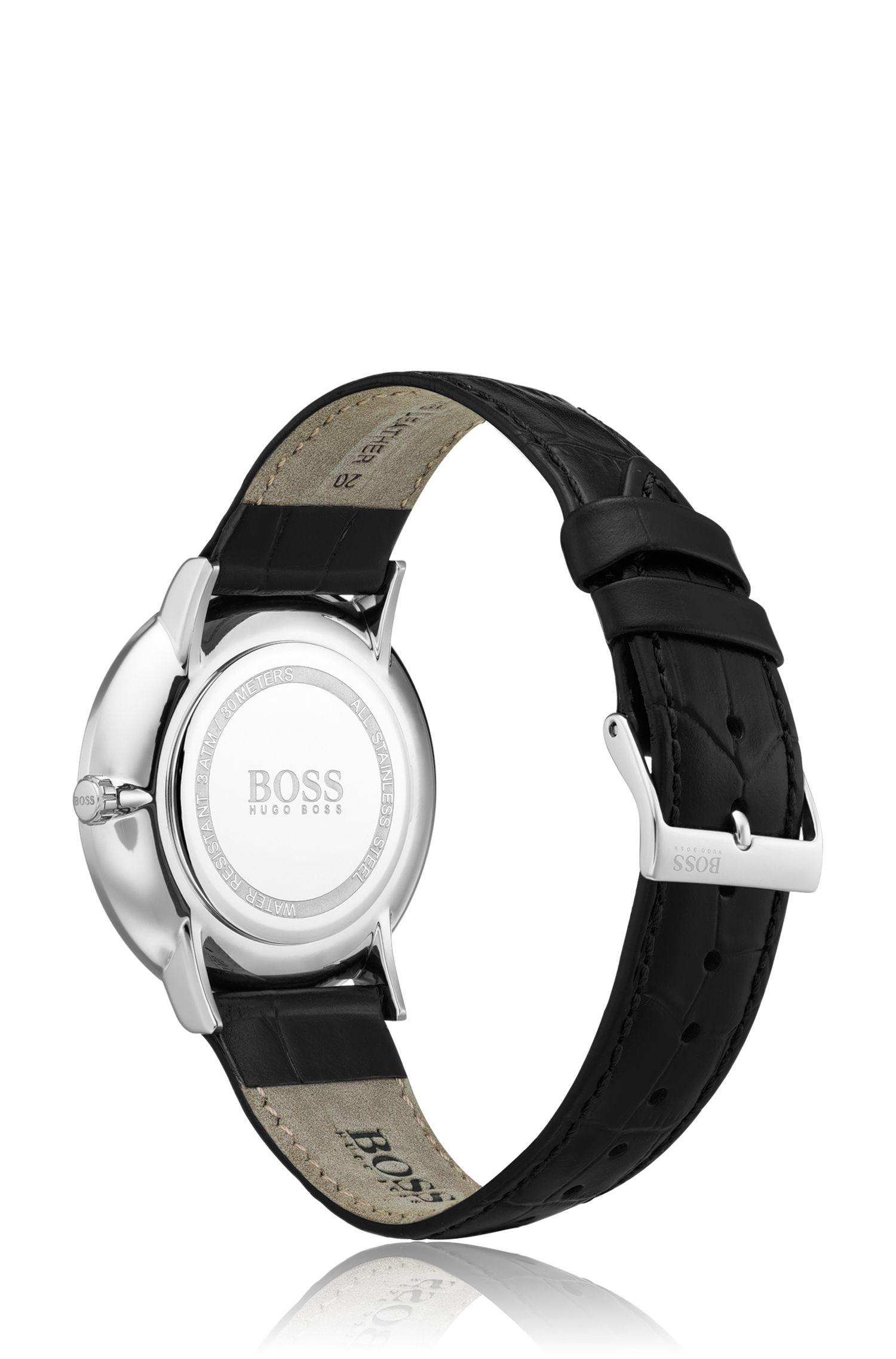Polished stainless-steel watch with black enamel dial, Black
