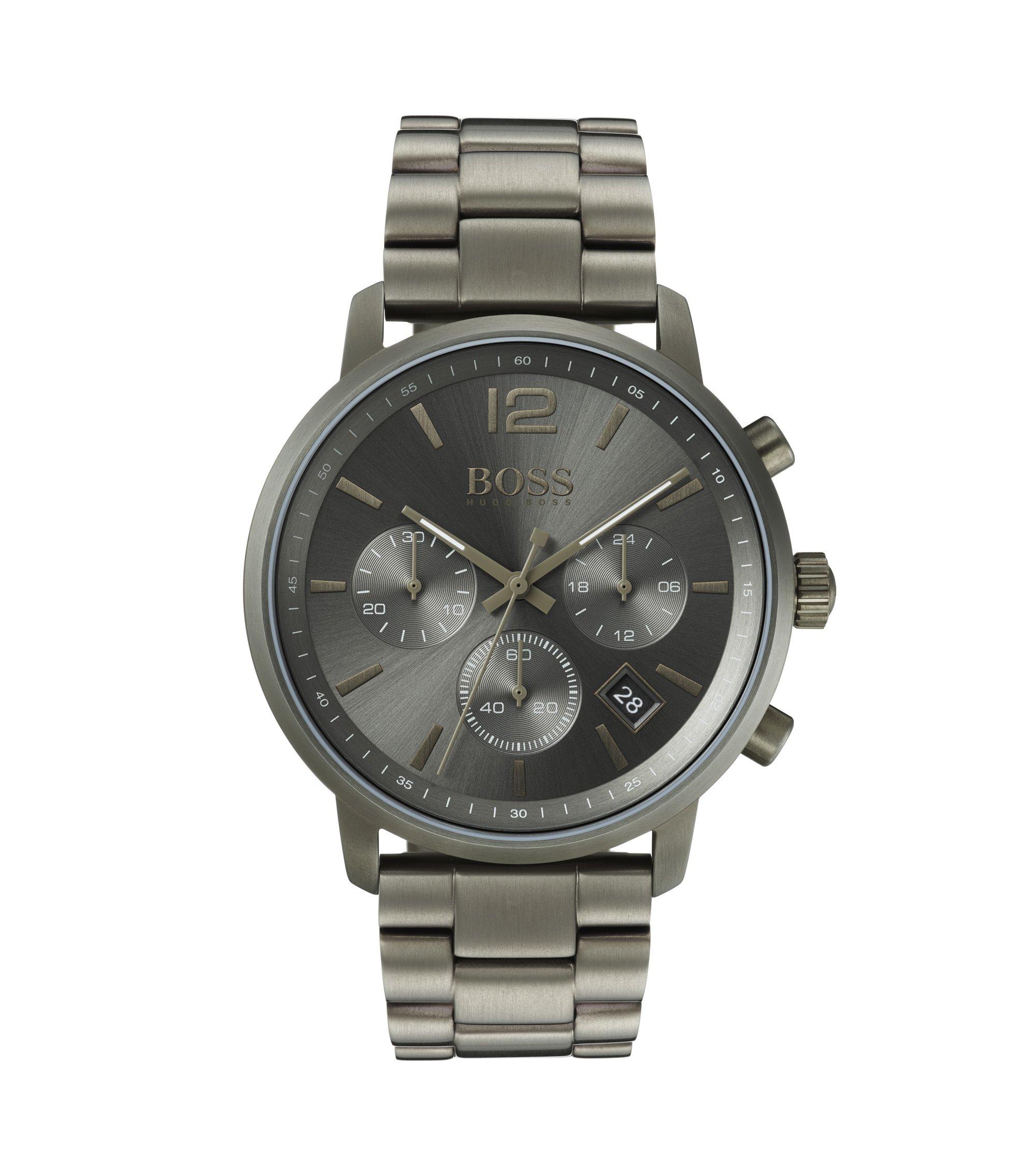 Montre chronographe en acier inoxydable plaqué kaki, Anthracite