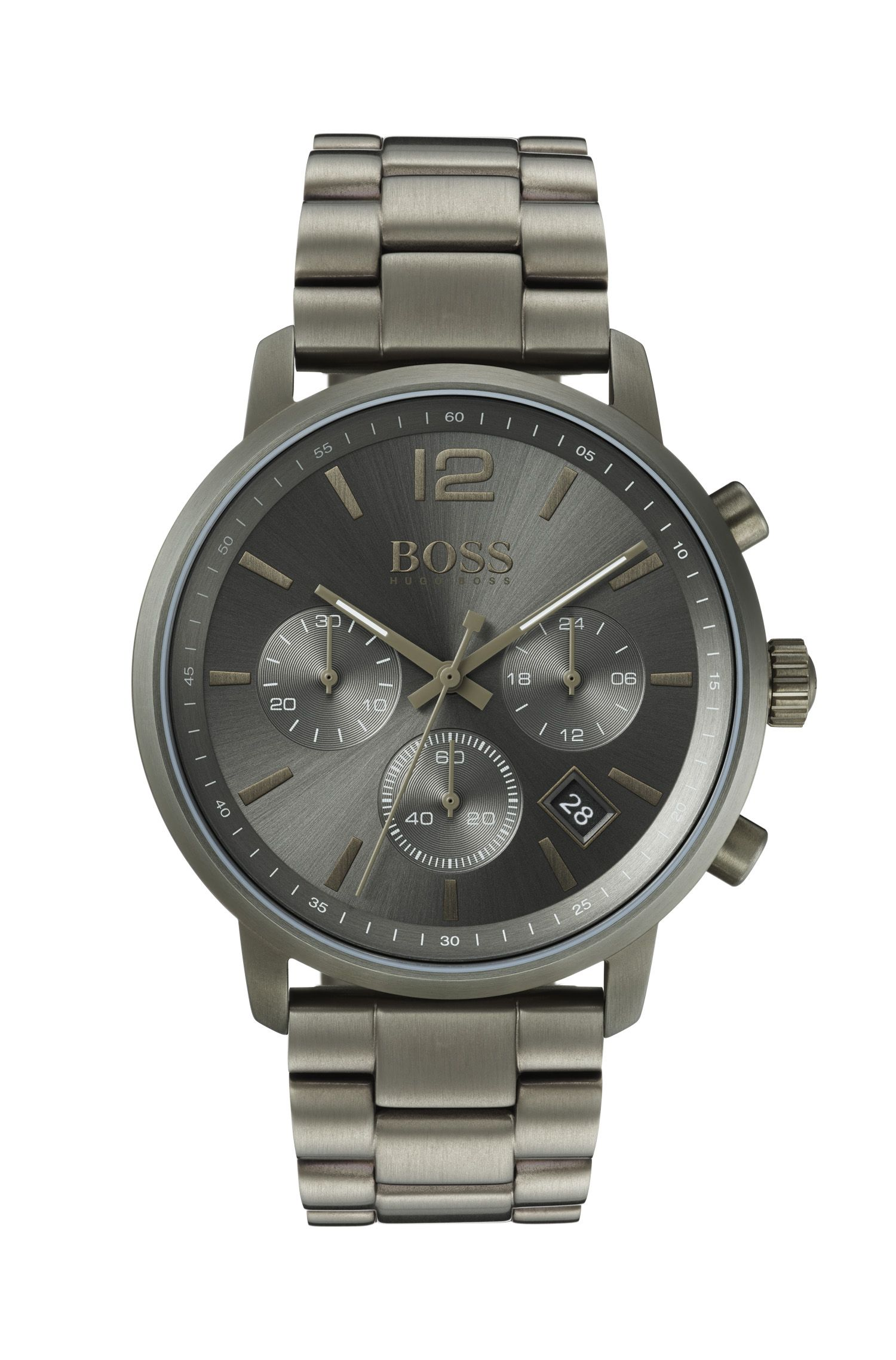 Chronograph watch in khaki-plated stainless steel, Anthracite