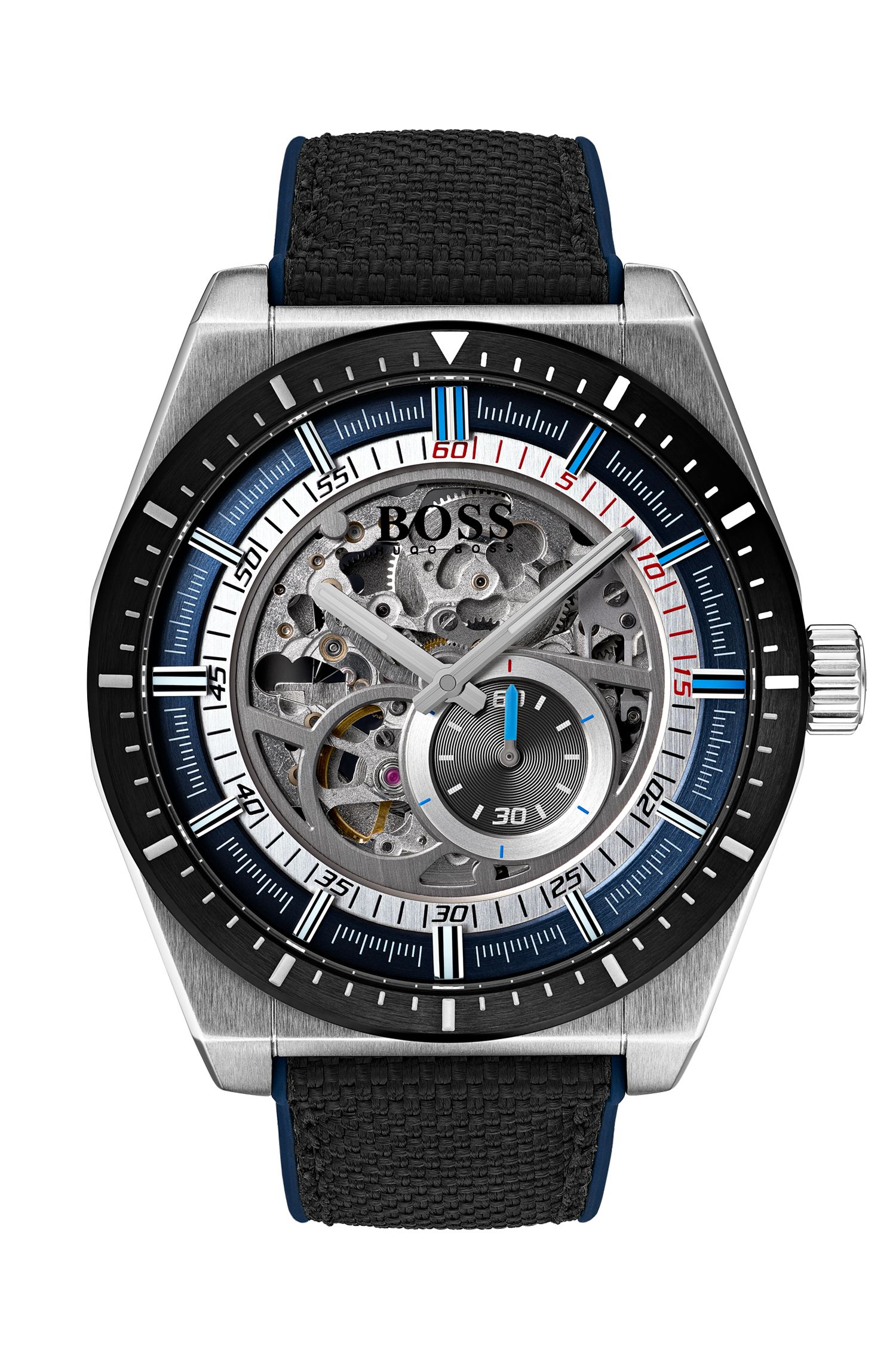 Multi-automatic skeleton watch with black-fabric strap, Black