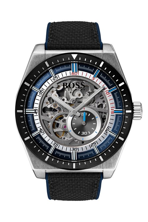 Hugo Boss - Multi-automatic skeleton watch with black-fabric strap - 1