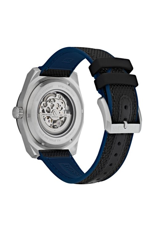 Hugo Boss - Multi-automatic skeleton watch with black-fabric strap - 3
