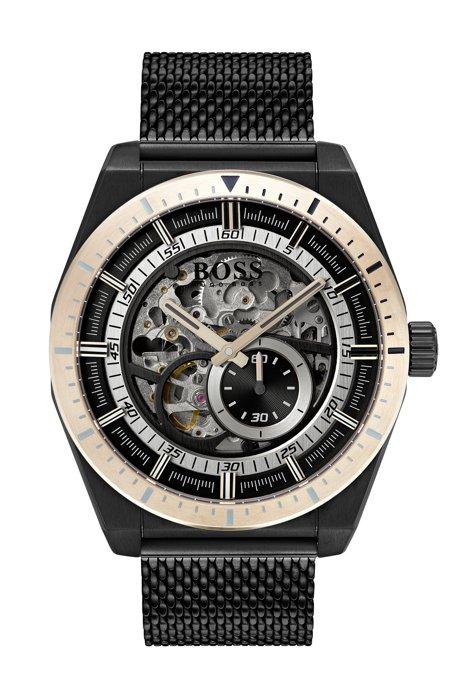 Black-plated multi-automatic skeleton watch with mesh bracelet, Black