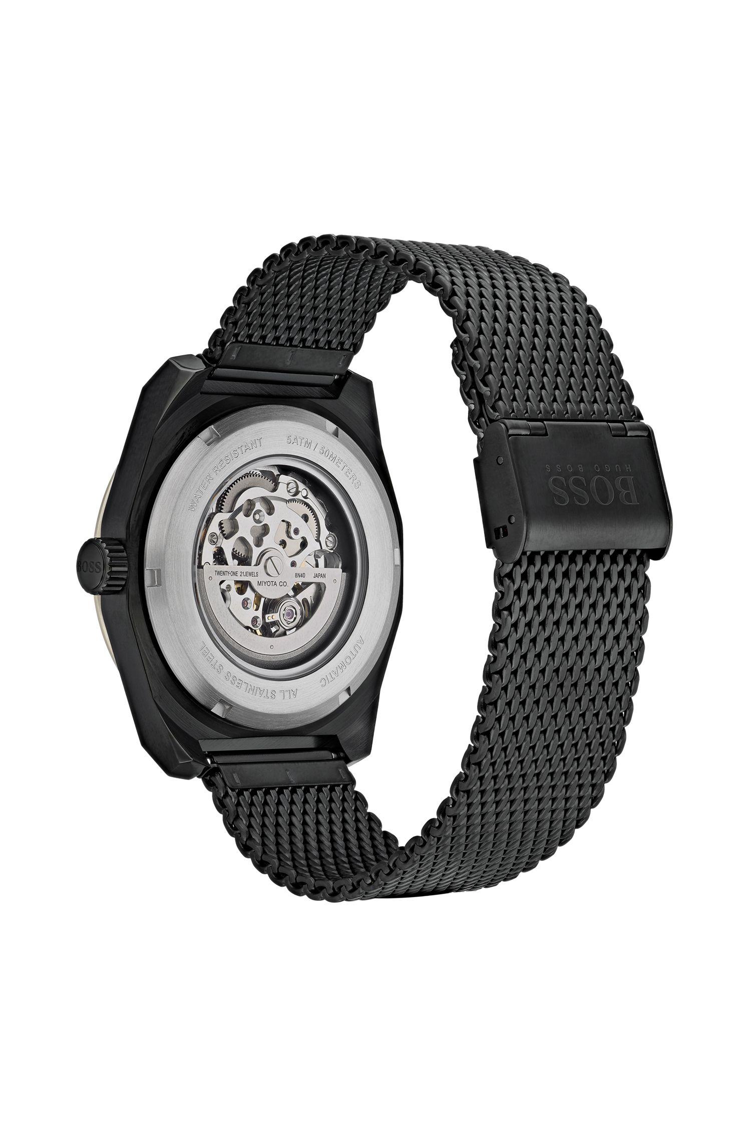 Montre squelette multi-automatique plaquée noir avec bracelet en mesh, Noir
