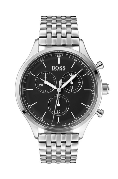 Stainless-steel watch with black enamel dial, Silver