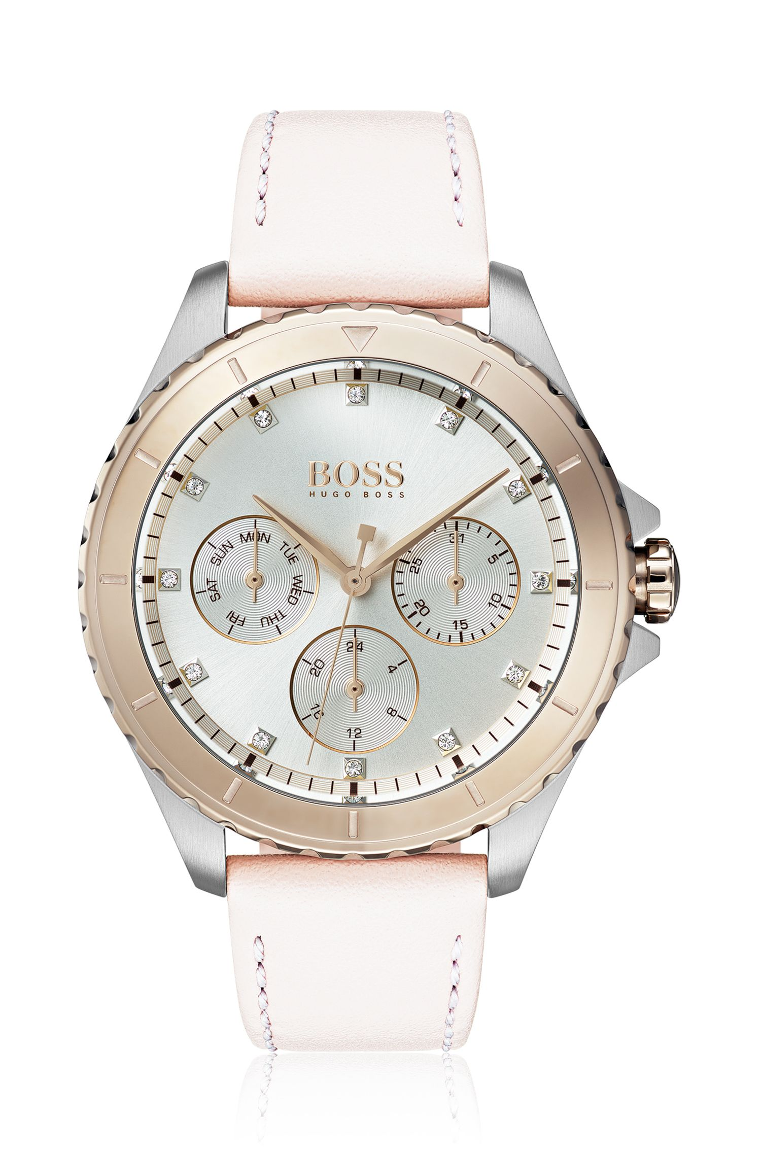 Stainless-steel watch with coloured bezel and crystal hour markers, light pink