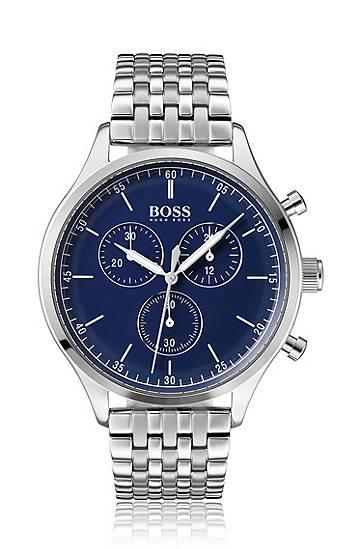 boss  Montre chronographe en acier inoxydable, à cadran en émail bleu Mécanisme... par LeGuide.com Publicité