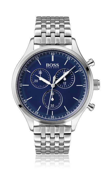 Chronograph watch in stainless-steel with blue enamel dial, Silver