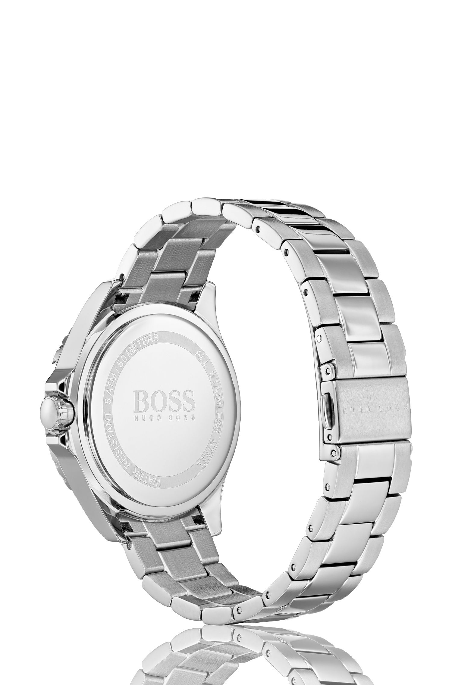 Stainless-steel watch with carnation-gold dial and crystal markers, Silver