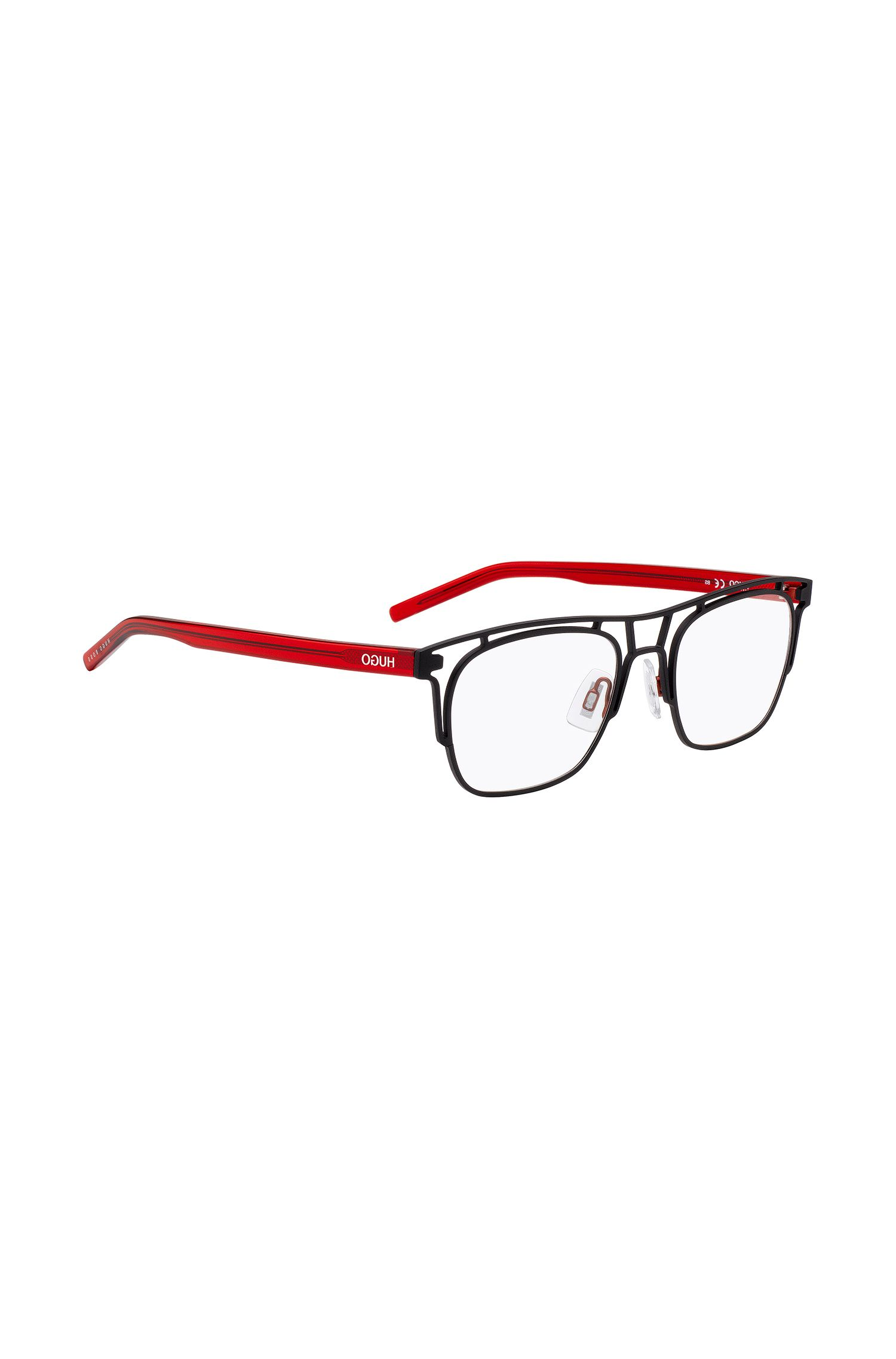 Black metal frame glasses with contrast temples, Black