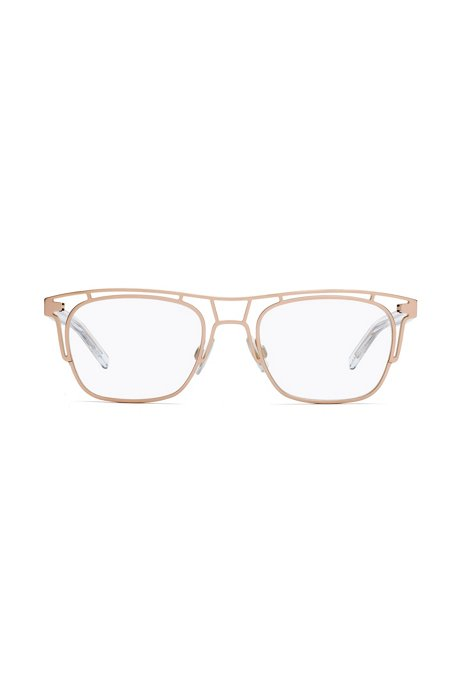 Bi-colour metal frame optical glasses with clear temples, Gold