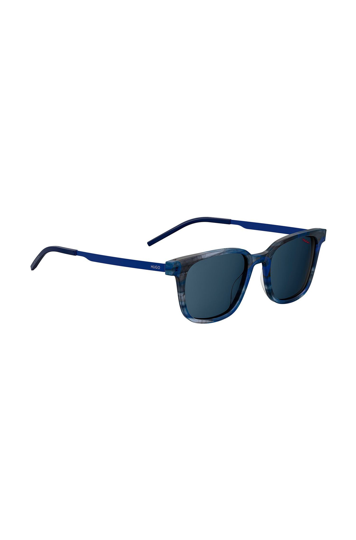 Blue-horn acetate sunglasses with ultra-thin blue temples, Donkerblauw
