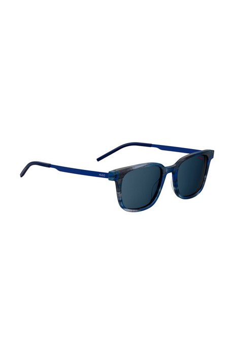 Blue-horn acetate sunglasses with ultra-thin blue temples, Blu scuro