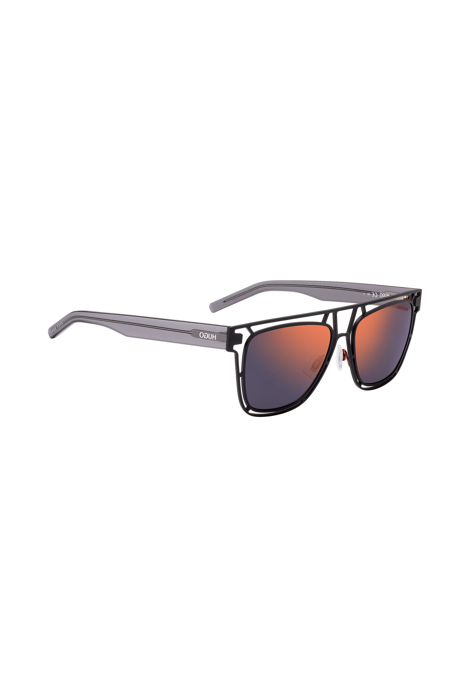 Zonnebril met een zwart metalen montuur met gespiegelde glazen, Zwart
