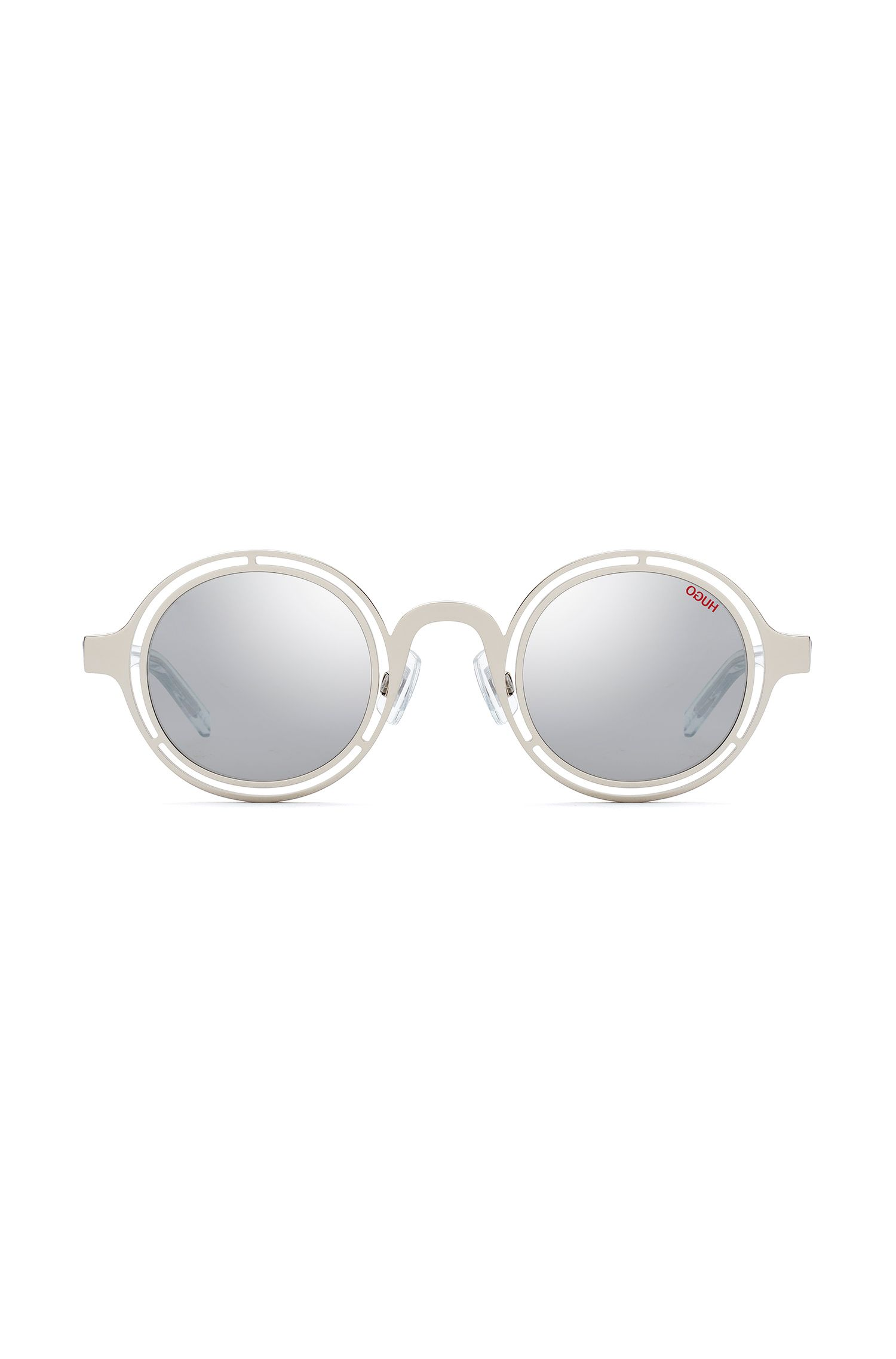 Round sunglasses in palladium steel with transparent temples, Argent