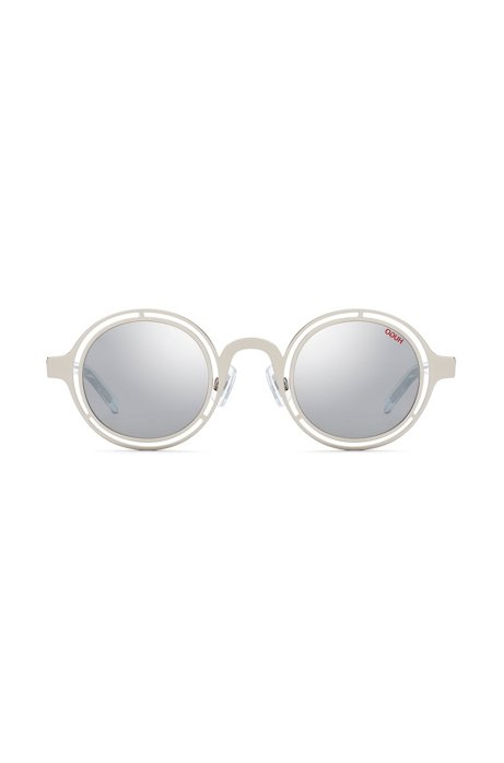 Round sunglasses in palladium steel with transparent temples, Silver