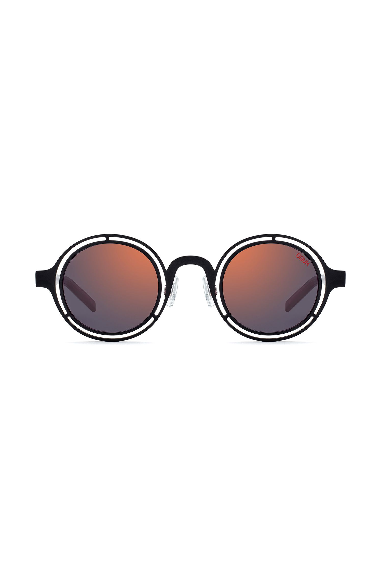 Round sunglasses with matte-black steel frames, Schwarz