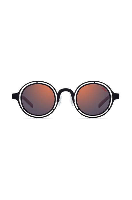 Round sunglasses with matte-black steel frames, Black