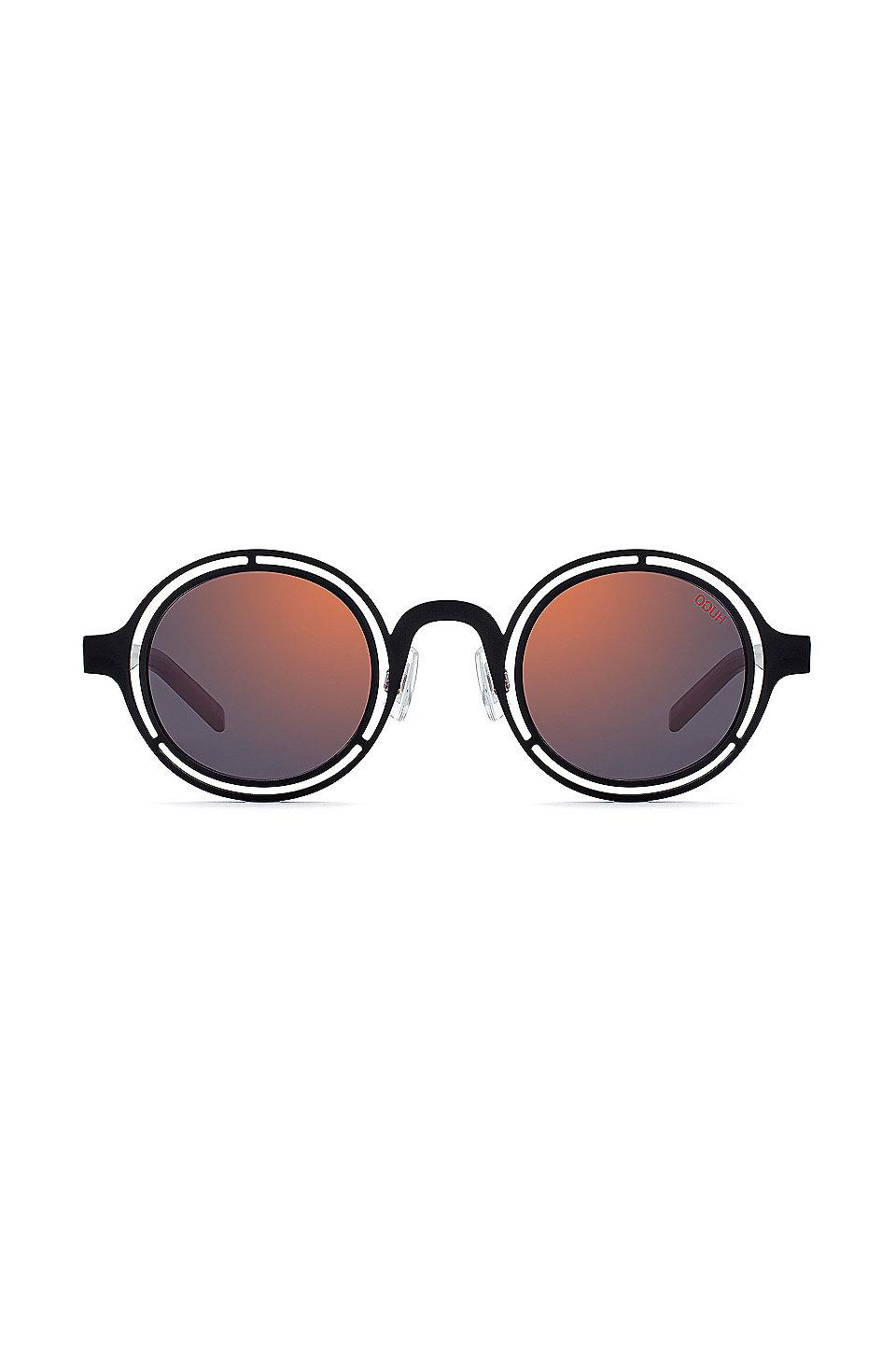 a047993c5b4a0 HUGO - Round sunglasses with matte-black steel frames