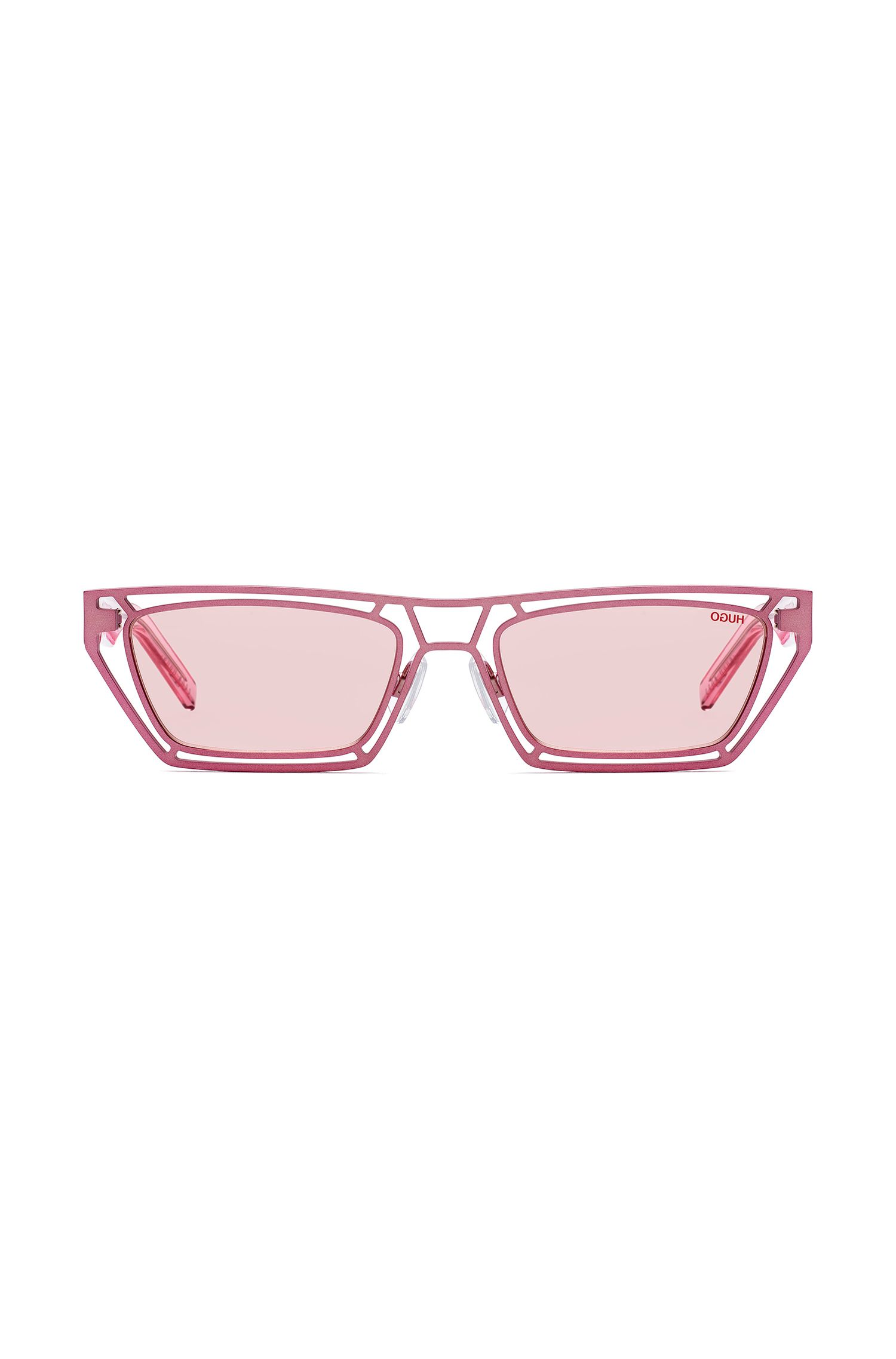 Geometrische Sonnenbrille mit transparenten Acetat-Bügeln, Pink
