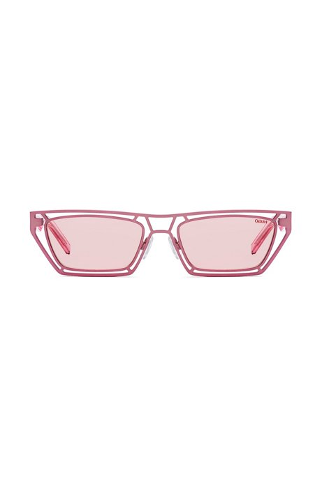 Geometric pink sunglasses with transparent acetate temples, Pink