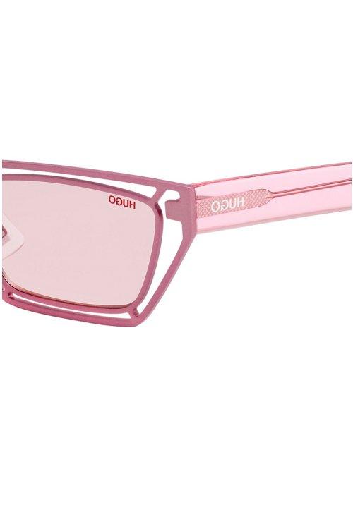 Hugo Boss - Gafas de sol geométricas de color rosa con varillas de acetato transparente - 3
