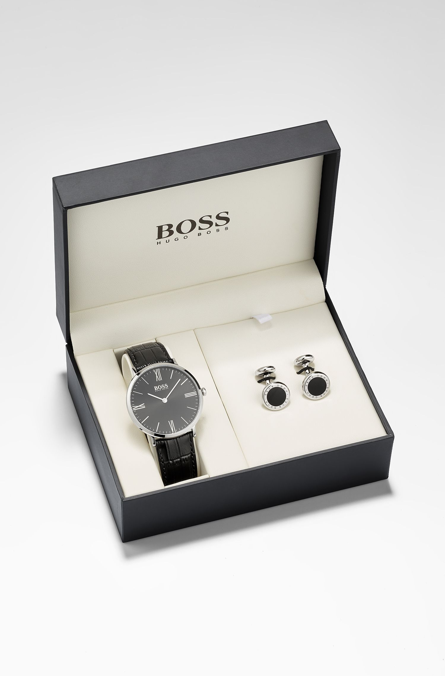 Two-hand watch and cufflinks gift set, Black