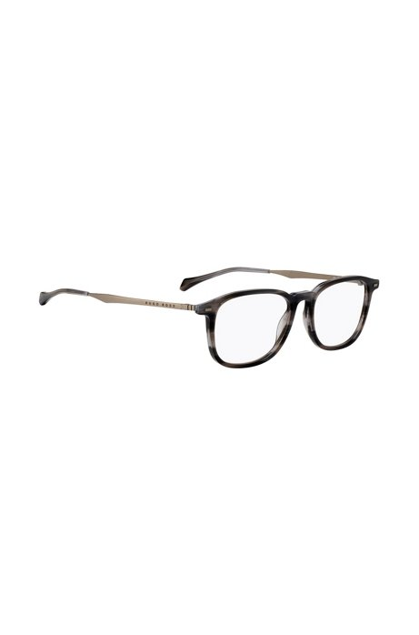 Havana-frame optical glasses with coordinating end tips, Patterned
