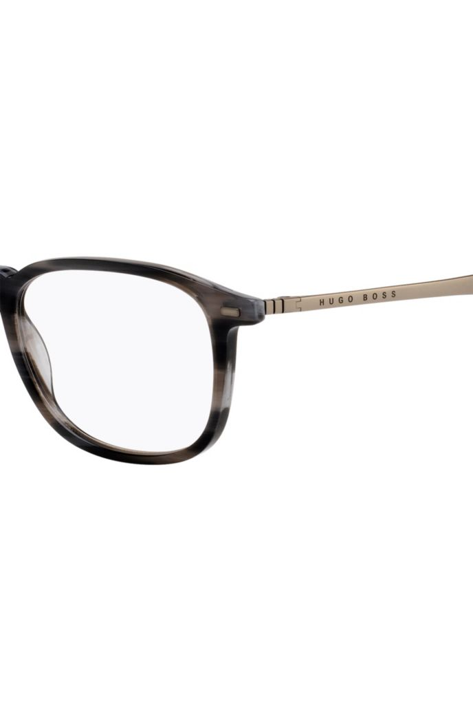 Havana-frame optical glasses with coordinating end tips