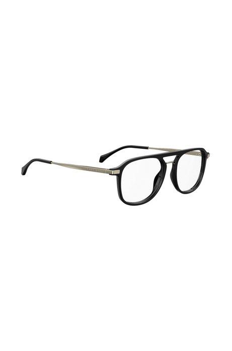 Optical glasses with black-optyl Windsor-rim frames, Black