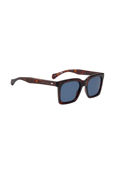 Retro-inspired sunglasses in acetate with Havana frames, Patterned