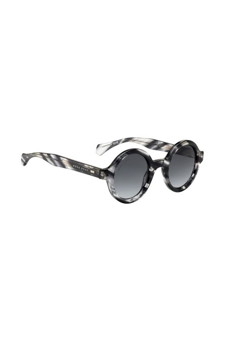 Round sunglasses in Havana-effect acetate, Patterned