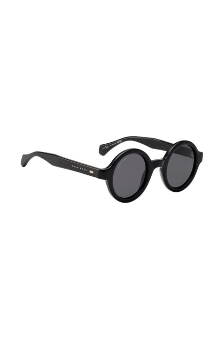 Round sunglasses in black acetate, Black