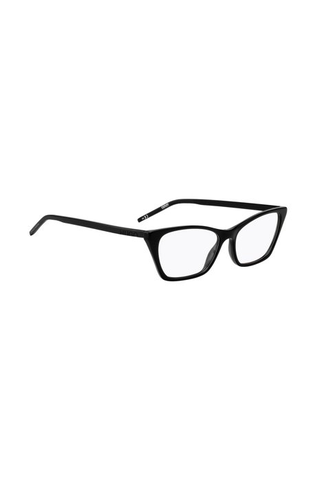 Black-acetate optical glasses with cropped logo, Black