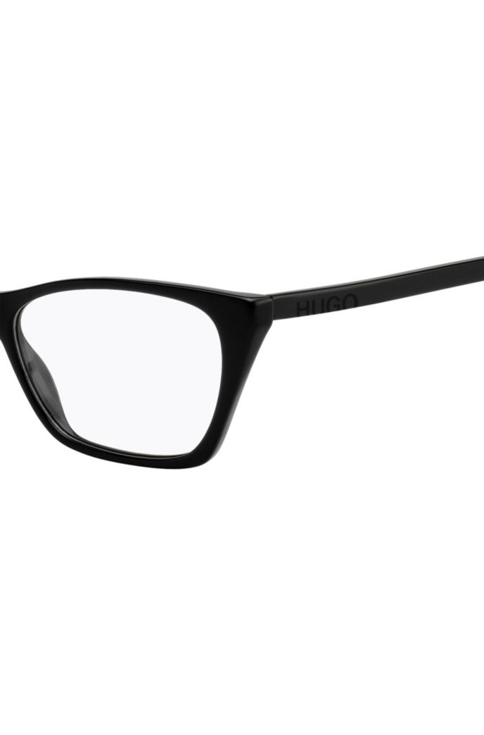Black-acetate optical glasses with cropped logo