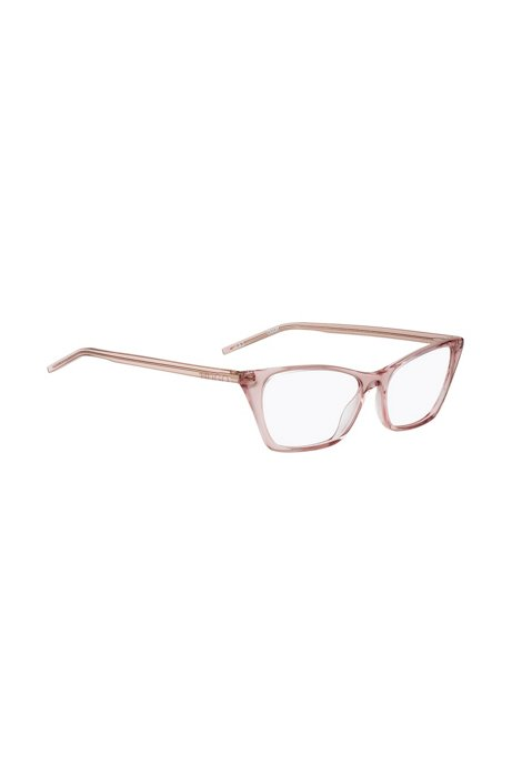 Transparent-acetate optical glasses with cropped logo, light pink